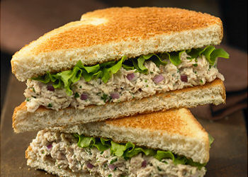 Tuna Salad Sandwich with Lettuce on Toasted White Bread, Halved and Stacked Original Filename: tuna.jpg