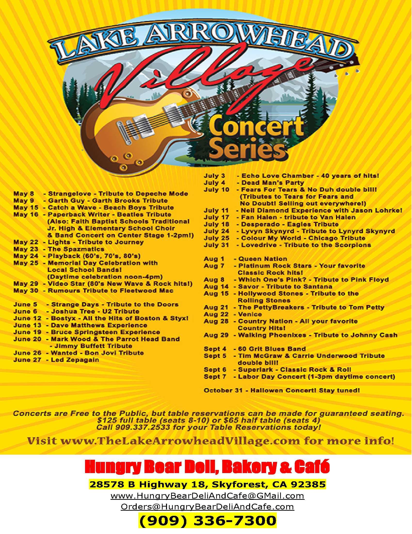 Concert Calendar Hungry Bear