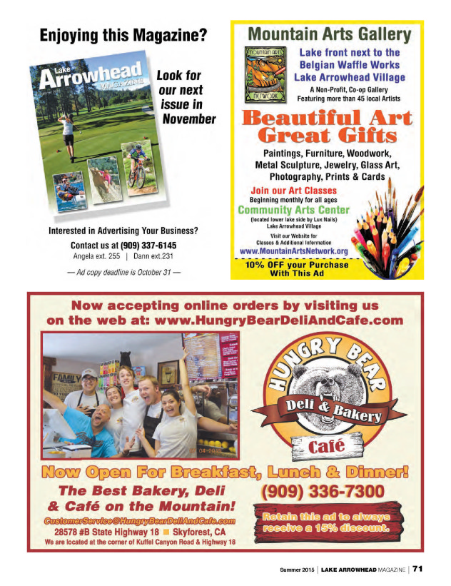 08-01-15 Lake Arrowhead Magazine Advertisement
